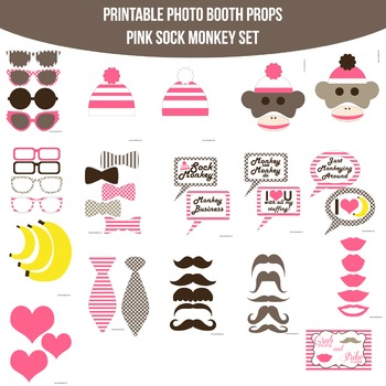 Sock Monkey Pink Printable Photo Booth Prop Set