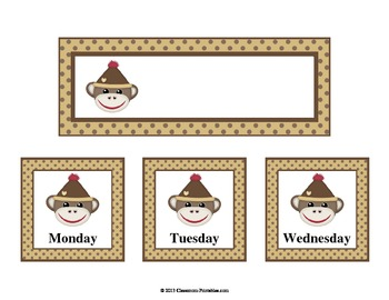 Sock Monkey Pocket Chart Calendar Set
