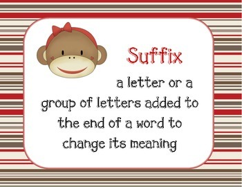 Sock Monkey Prefix and Suffix Posters