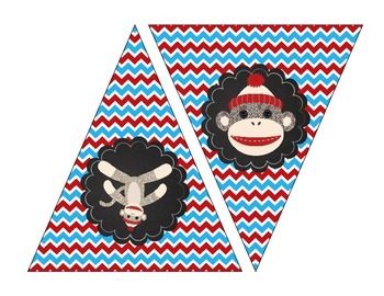 Sock Monkey Printable Banner Bright Blue and Red
