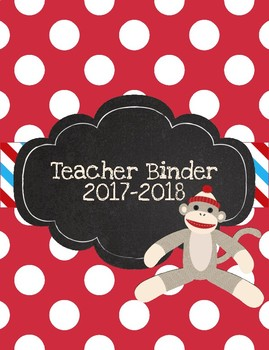 Sock Monkey Printable Teacher Binder for 2017-2018 Bright Blue and Red