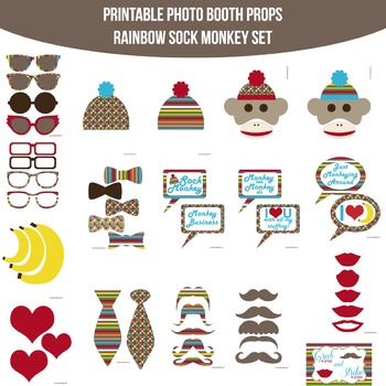 Sock Monkey Rainbow Printable Photo Booth Prop Set