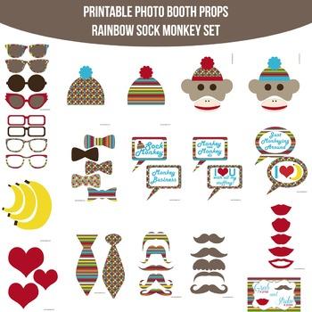 Sock Monkey Rainbow Printable Photo Booth Prop Set