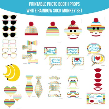 Sock Monkey Rainbow White Printable Photo Booth Prop Set