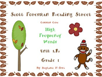 Sock Monkey Reading Street High Frequency Words Bundled Units 1.R-5 Gr. 1