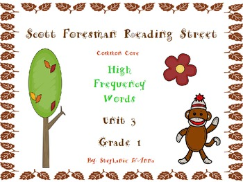 Sock Monkey Reading Street High Frequency Words Unit 3 Gr. 1