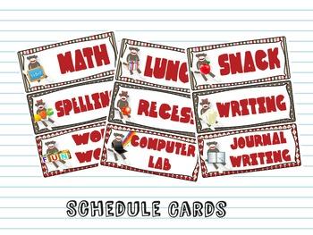 Sock Monkey Schedule Cards