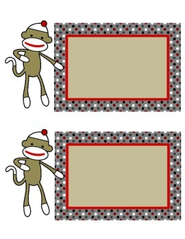 Sock Monkey: Station Cards and Blanks