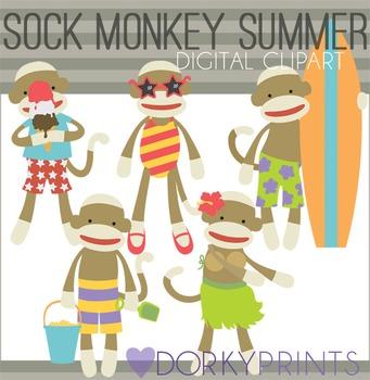Sock Monkey Summer Digital Clip Art