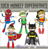Sock Monkey Super Hero Digital Clip Art