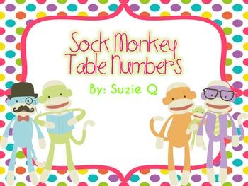 Sock Monkey Table Numbers