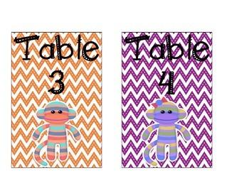 Sock Monkey Table Signs
