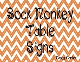 Sock Monkey Table Signs
