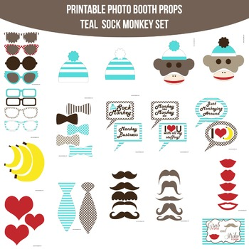 Sock Monkey Teal Printable Photo Booth Prop Set