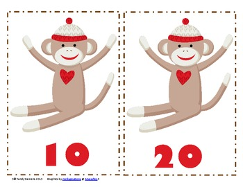 Sock Monkey Tens:  Skip Counting & Ordering Numbers 10-100 By 10's