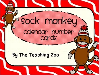 Sock Monkey Theme Calendar Number Cards