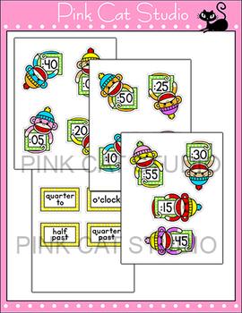 Sock Monkey Theme Telling Time Clock Labels