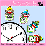 Sock Monkey Theme Telling Time Clock Labels