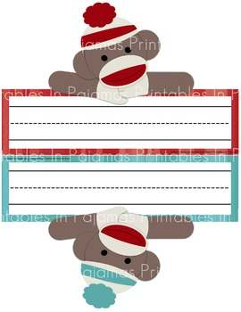 Sock Monkey Theme Nameplates & Tags