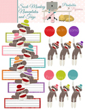 Sock Monkey Theme Nameplates & Tags