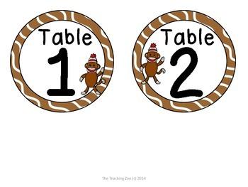Sock Monkey Theme Table Numbers