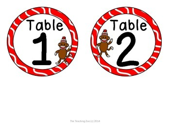 Sock Monkey Theme Table Numbers