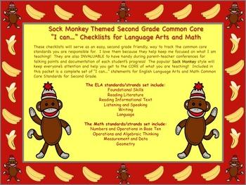 Sock Monkey Themed 2nd Grade Common Core Checklist English Language Arts & Math
