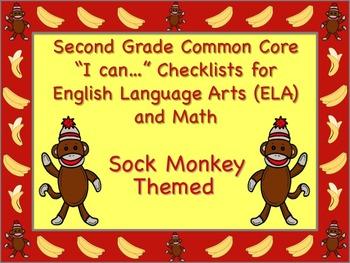 Sock Monkey Themed 2nd Grade Common Core Checklist English