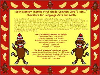 Sock Monkey Themed First Grade Common Core Checklist (ELA) Language Arts & Math
