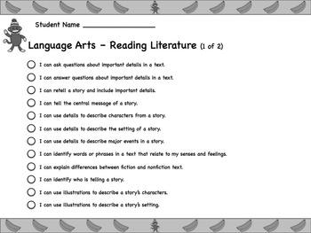 Sock Monkey Themed First Grade Common Core Checklist (ELA) Language Arts & Math