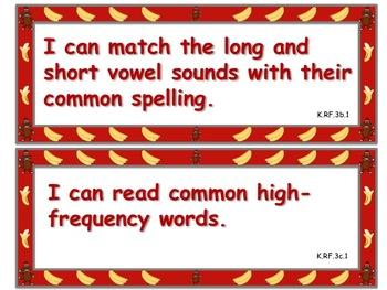 Sock Monkey Themed Kindergarten Common Core Posters (ELA) Language Arts & Math