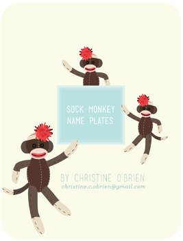 Sock Monkey Themed Name Plates / Classroom Labels