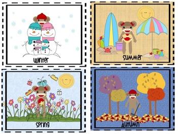 Sock Monkey Weather and Seasons Posters