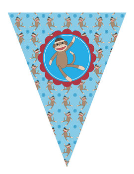 Sock Monkey Welcome Banner and Pennants