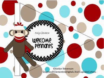 Sock Monkey Welcome Pennants