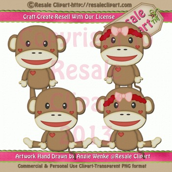 Sock Monkeys 1 ClipArt - Commercial Use