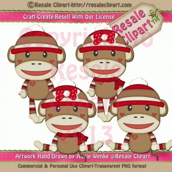 Sock Monkeys 2 ClipArt - Commercial Use