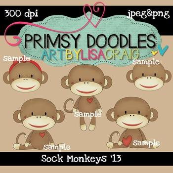 Sock Monkeys 300 dpi clipart