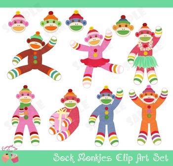 Sock Monkeys Clip Art Set