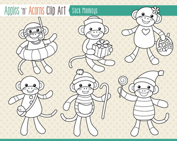 Sock Monkeys Clip Art - color and outlines