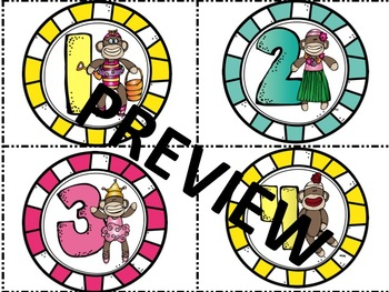 Sock Monkeys Themed Numbered Labels