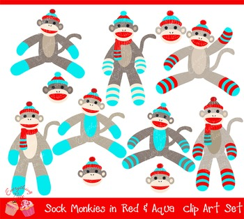Sock Monkeys in Red and Aqua Clipart Set