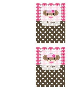 Sock Monnkey Thank You Card