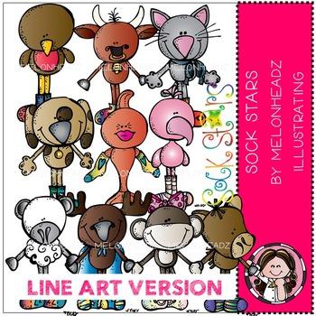 Sock Stars clip art - Line Art- by Melonheadz
