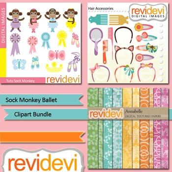 Sock monkey ballet clip art bundle (3 packs) commercial use clipart