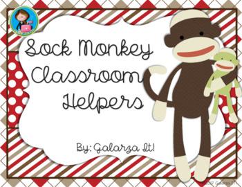 Sock monkey classroom helper job cards (76 jobs in 2 sizes cards)