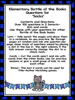 Socks - 100 Elementary Battle of the Books Questions