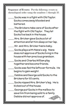 Socks (Beverly Cleary) Novel Study / Comprehension (26 pages)