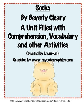 Socks By Beverly Cleary Comprehension, Vocabulary and Writ