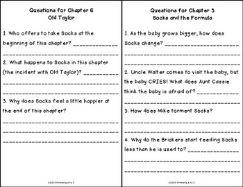 Socks Comprehension Booklet